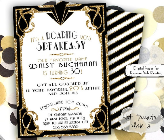 Roaring 20s Invitation Gold Glitter Birthday Party 1920s Great Gatsby Invite Speakeasy 5x7