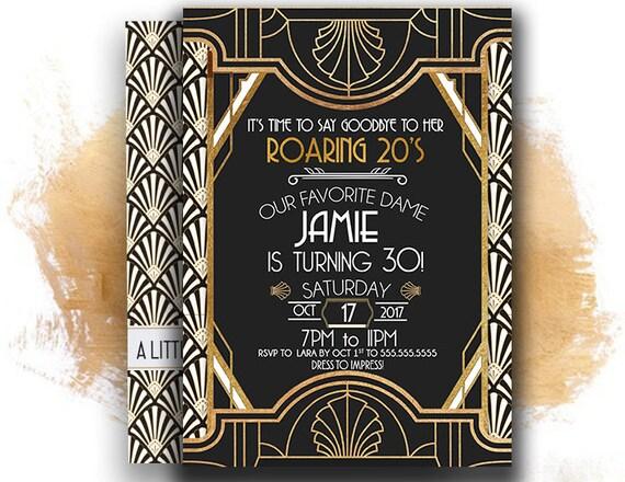 roaring 20s invitation great gatsby invitation 30th birthday etsy