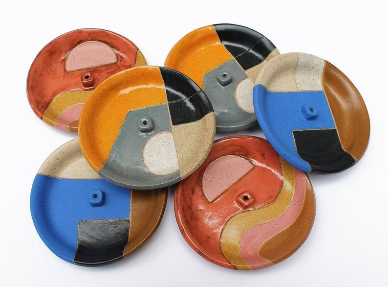 Patterned Incense Holder Dish/ Ceramic Catchall