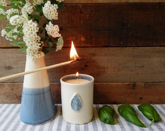 Basil candle, hand made pottery, The blue leaf