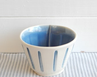 Coffee latte bowl, cream and blue, pottery bol.
