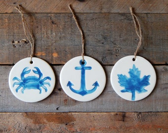 Anchor ornament, crab  and maple leaf