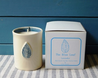 Lavender candle, hand made pottery, The blue leaf