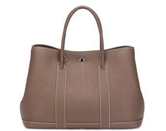 Simple taupe color genuine leather tote bag