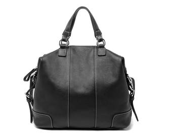 Black leather three-way tote bag/  leather shoulder bag / leather bag / tote bag