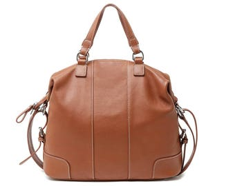 Brown leather three-way tote bag/  leather shoulder bag / leather bag / tote bag