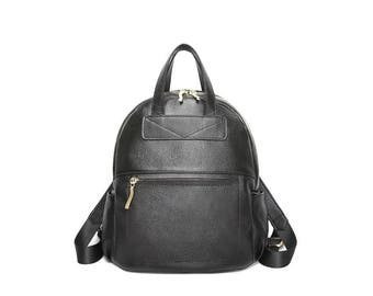 Simple black leather backpack / leather backpack / black backpack / mini leather backpack / girl's backpack / school bag