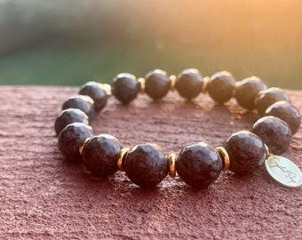 Fall vibes golden snowflake obsidian bracelet