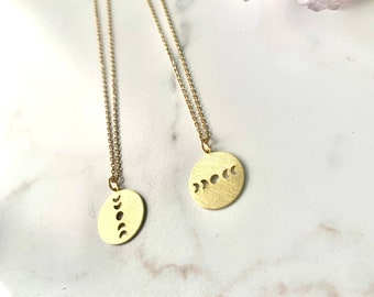 Gold brass moon phase necklace