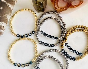 Custom made Fall Halloween word skinny stacking bracelets