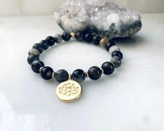 Golden lotus charm dark Amazonite bracelet