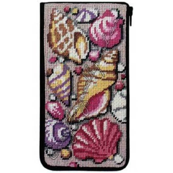 Shells /& Coral Stitch /& Zip Eyeglass Case Needlepoint Kit