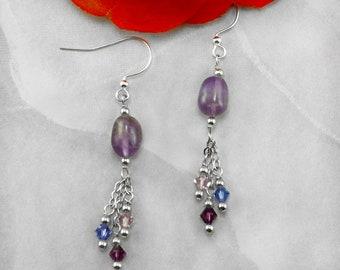 Amethyst Earrings with Purple Swarovski Crystal Beads