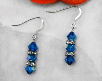 Capri Blue Swarovski Crystal & Sterling Silver Earrings
