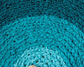 Ombre Turquoise Fabric Crochet Rag Rug