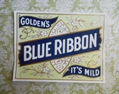Nice 1900s Golden 39 s Blue Ribbon Cigar Box Label
