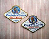 Two 1920s Myopia Club Soda Labels Lemon Sour Cherry