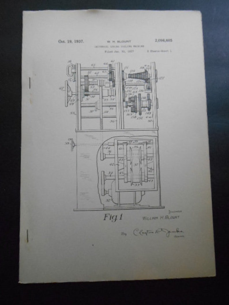 Five 1930 Mechanical Patents for Metal Working Machines Steampunk Blueprints