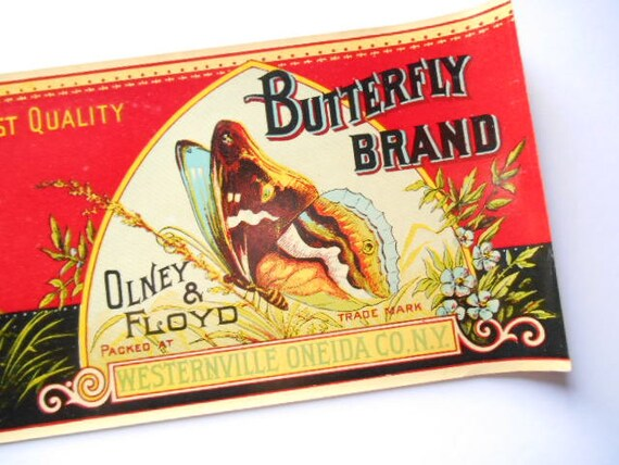 BUTTERFLY Succotash OLNEY /& FLOYD Can Label 1930/'s Westernville New York