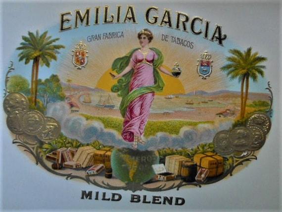 Embossed Box Art Original EMILIA GARCIA Vintage Cigar Label Gran Fabrica