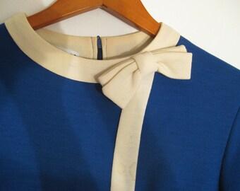 CLEARANCE.  Vintage Blue and Cream Dress.  Medium.