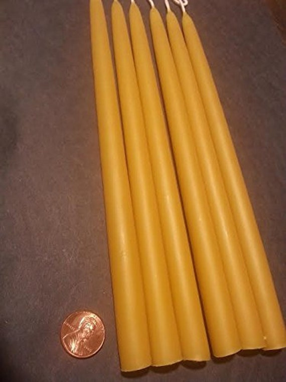 Organic Beeswax taper candles choose LENGTH,THICKNESS and QUANTITY hand dipped
