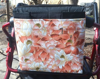 Walker Bag/ Rollator Bag/ Mobility Tote/Universal Fit /Hands Free Storage/Mothers Day Gift/ Ready to Ship/ Free Shipping/