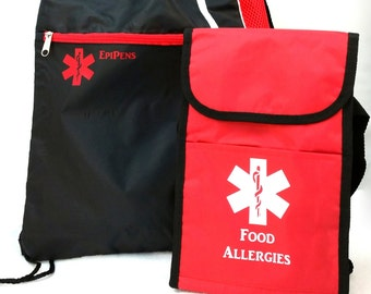 Insulated Custom Food Allergy Lunch Bag / Medicine Case / First Aid Case