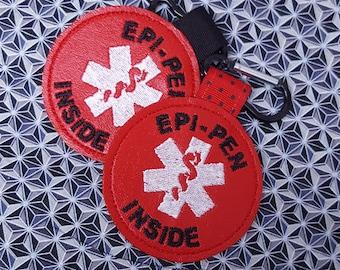 """Medical Alert Tag """"Epi-Pen Inside"""" Label Red White Food Allergy Awareness  Backpack Medical Alert Tag by Alert Wear"""