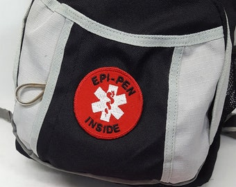 """Medical Alert Iron On Patch """"Epi-Pen Inside"""" Red White Food Allergy Awareness Tag by Alert Wear"""
