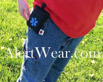 Custom AuviQ or Inhaler Medicine Case with Optional Adjustable Strap on Back by Alert Wear