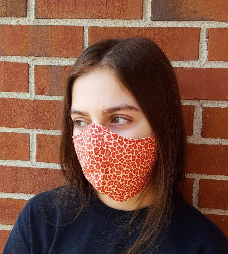 Face Mask 100% Cotton with Paracord Strap Latex-Free Easy on Red Animal Print