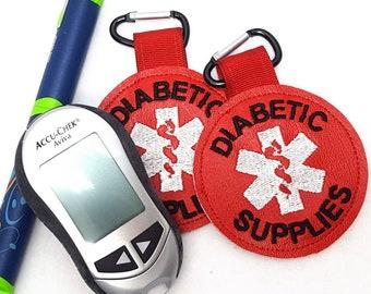 """Diabetic Medical Alert Tag """"Diabetic Supplies"""" Label Red White Diabetic  Backpack Medical Alert Tag by Alert Wear"""
