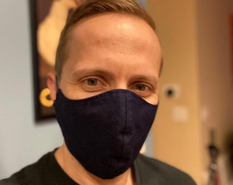 Navy Face Mask 100% Cotton with Paracord Strap, Latex-Free, Easy on Ears with