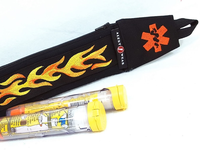 Medicine Case Flame Design for AuviQ Diastat or EpiPens / Orange Yellow Flames