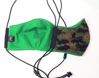 Camouflage Face Mask 100% Cotton with Paracord Strap, Latex-Free, Easy on Ears with
