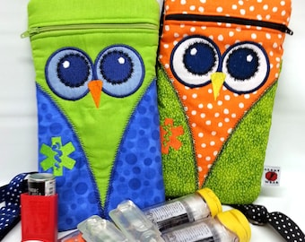 Owl Medicine Pack / Epi-Pen Case / Diastat Case / Asthma Case/ Purse by Alert Wear