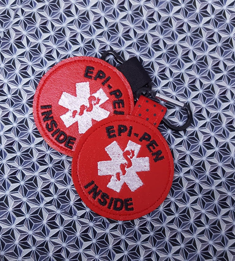 Medical Alert Tag Epi-Pen Inside Label Red White image 0