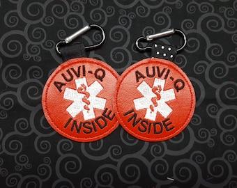 """Medical Alert Tag """"Auvi-Q Inside"""" Label Red White Food Allergy Awareness  Backpack Medical Alert Tag by Alert Wear"""