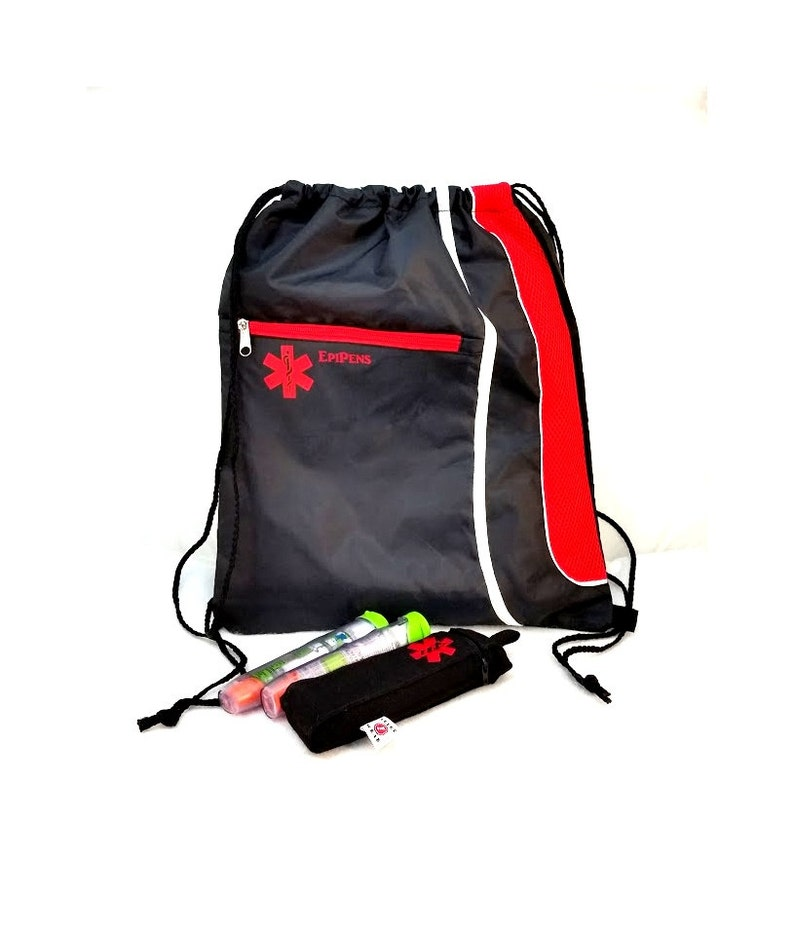 Drawstring Backpack Cinch Bag / EpiPen Case / Medical Alert image 0