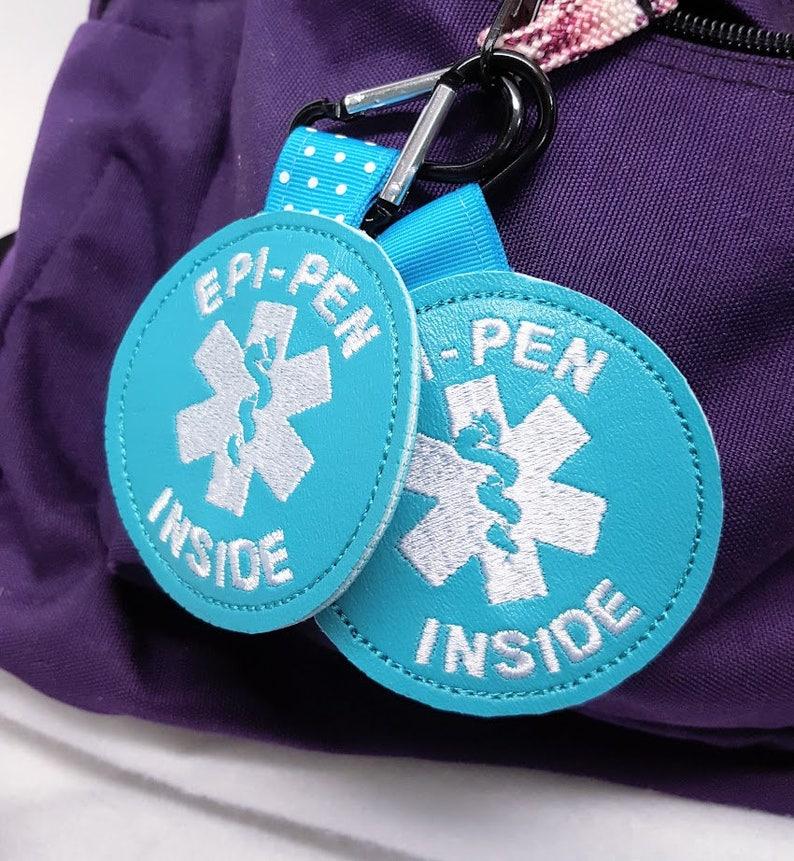 Epi-Pen Inside Tag Teal Food Allergy Awareness  Backpack image 0