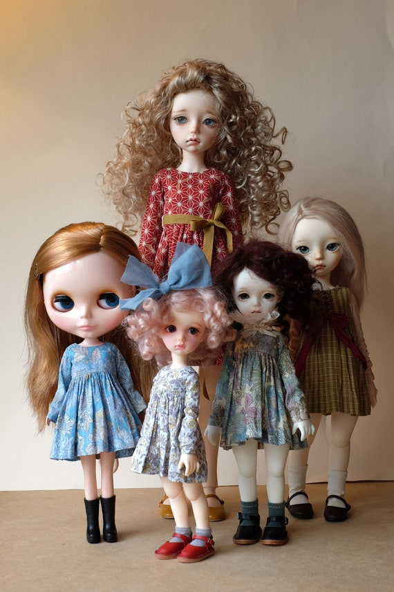 YoSD PDF download MSD. Tutorial for Blythe dolls and iMda BJD Long sleeved doll dress sewing pattern