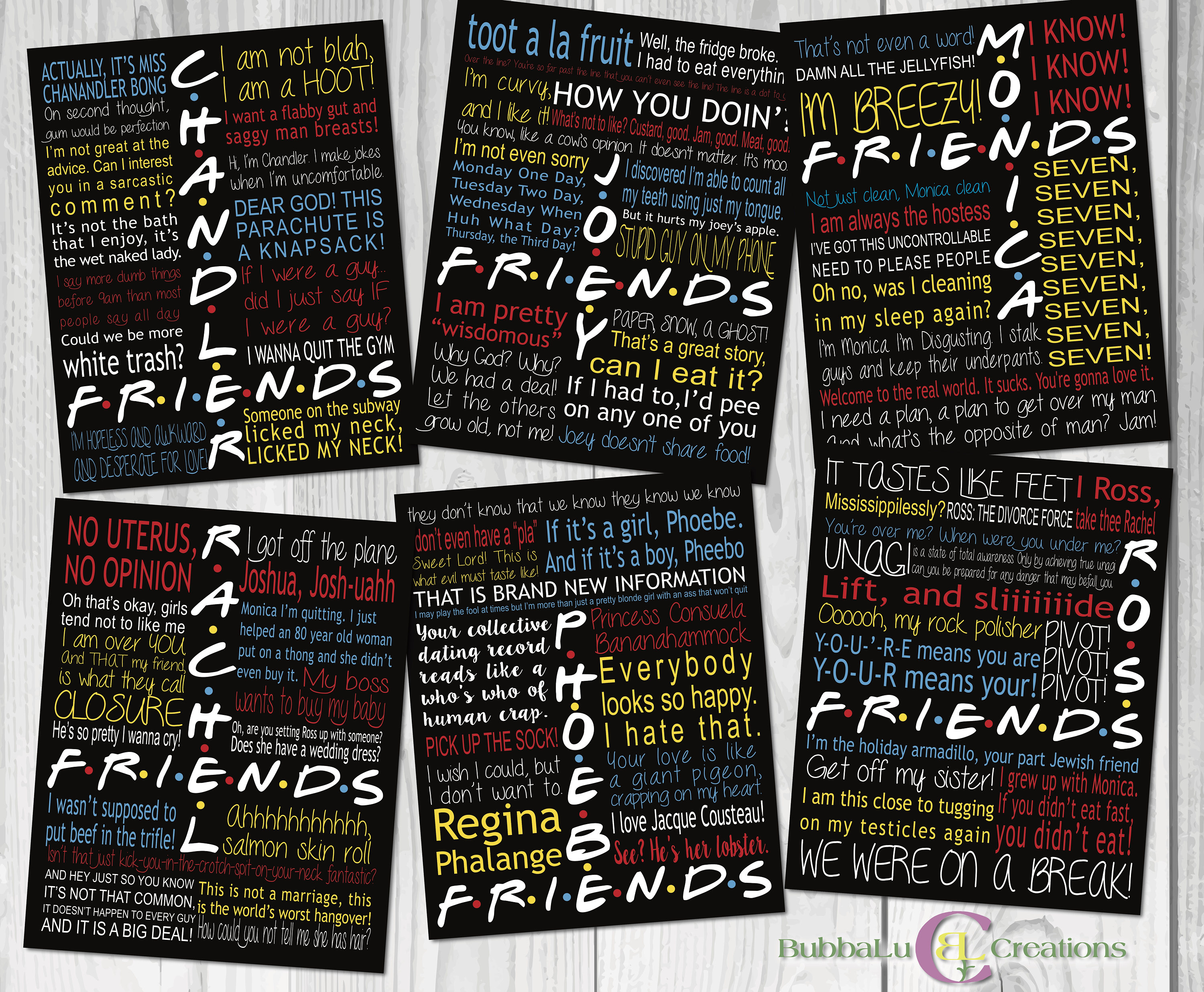 Friends TV Show Character Quotes  DIGITAL DOWNLOAD  Friends Show Art   Friends  Friends tv Show  Friends Show Quotes  Friends Show Poster