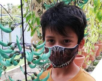 Dinosaur Custom printed mask   personalized washable cloth face mask   T-Rex face mask   Halloween mask   Dinosaur costume
