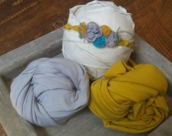 Mustard Teal and Gray Jersey Tieback  Newborn Tieback Jersey Newborn Stretch Wrap Set