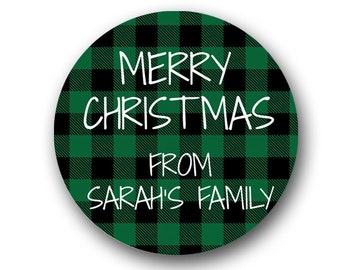 Christmas Stickers, Buffalo Plaid Christmas Gift Tags, Gift Labels, Merry Christmas, Plaid Christmas Tags, Envelope Seals SHEET OF 12 #1762