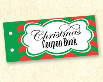INSTANT DOWNLOAD Printable Christmas Coupon, Stocking Stuffer, Blank Christmas Coupon Book, DIY Coupon Book (540)