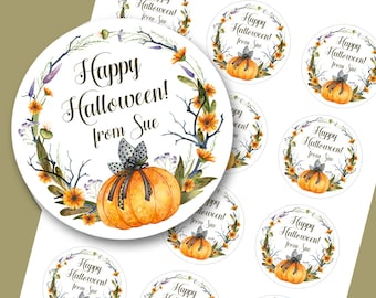 Halloween Stickers, Trick or Treat Stickers, Pumpkin Stickers, Happy Halloween Treat Stickers, Halloween Party Favors, SHEET OF 12 #1802