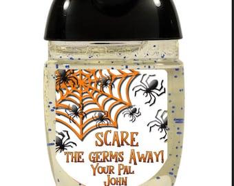 Mini Hand Sanitizer Labels, PocketBac Labels, Halloween Labels, Sanitizer Favor Labels, Halloween Treats, LABELS ONLY Sheet of 30 #1415