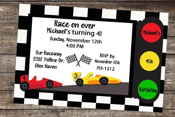 race car birthday race car invite race car invitation cars etsy